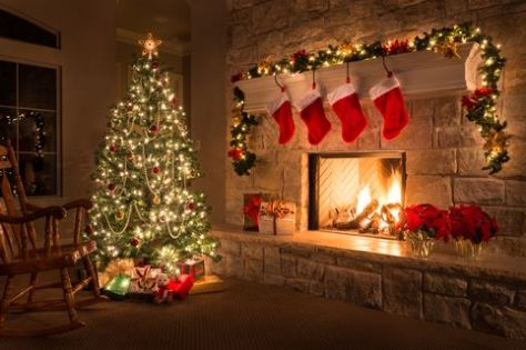 christmas tree fireplace